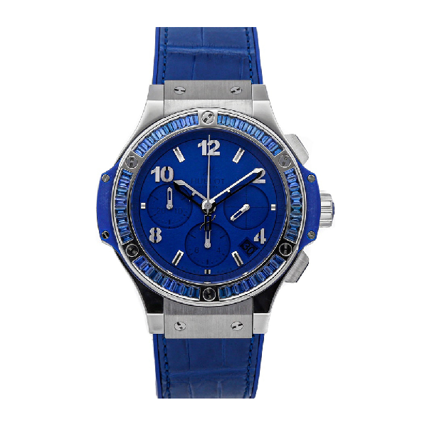 Hublot Blue Baguette Sapphire Stainless Steel Big Bang Tutti Frutti 341.sl.5190.lr.1901 Men's Wristwatch 41 In Black