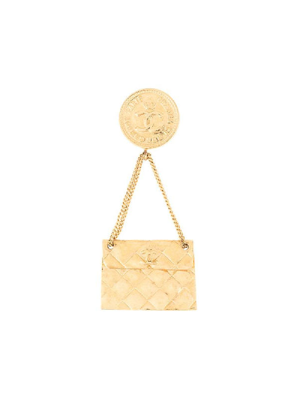 Chanel Quilted Bag Brooch In Gold