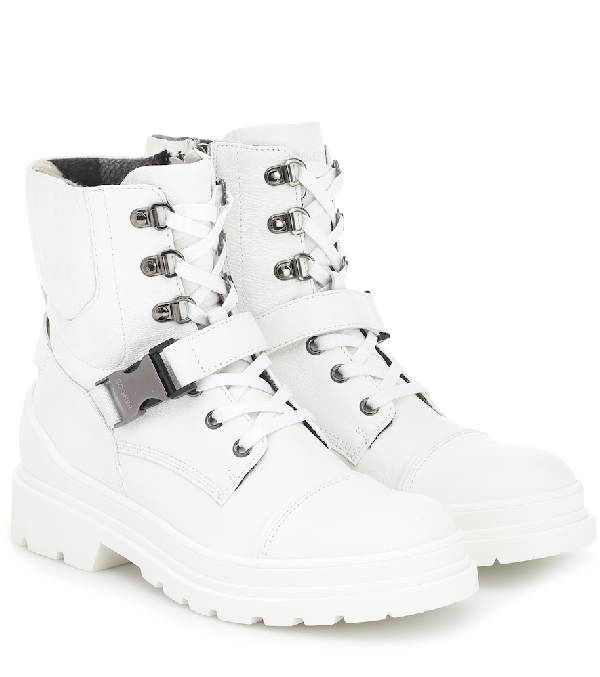 Bogner St Moritz Leather Ankle Boots In White