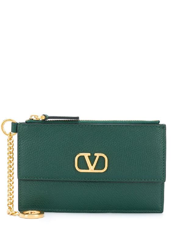 Valentino Garavani Vlogo Zipped Wallet In Green