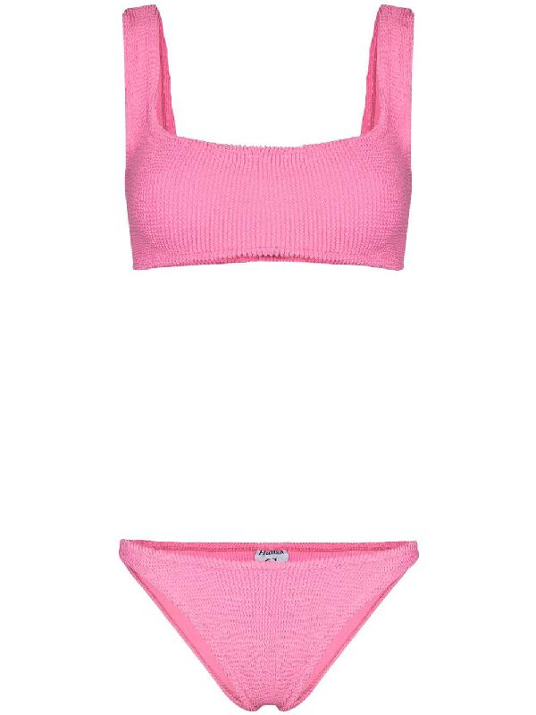 Hunza G Crinkled Cropped Bikini Set In Pink