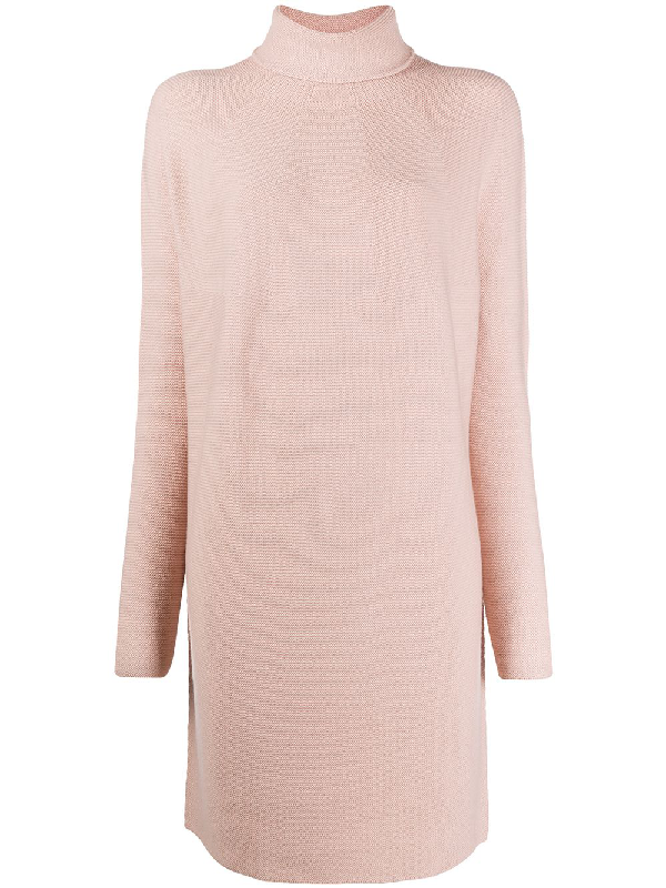 Christian Wijnants Roll Neck Sweater Dress In Pink