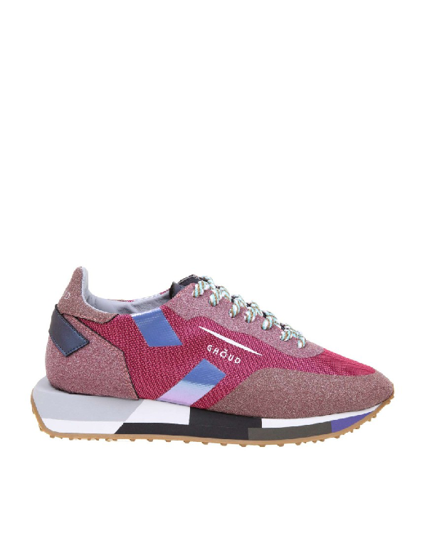 Ghoud Star Sneakers In Fabric With Glitter In Pink