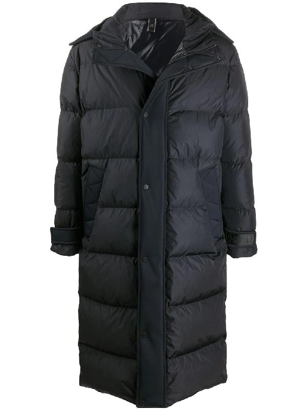 Hogan Longline Quilted Coat In Black