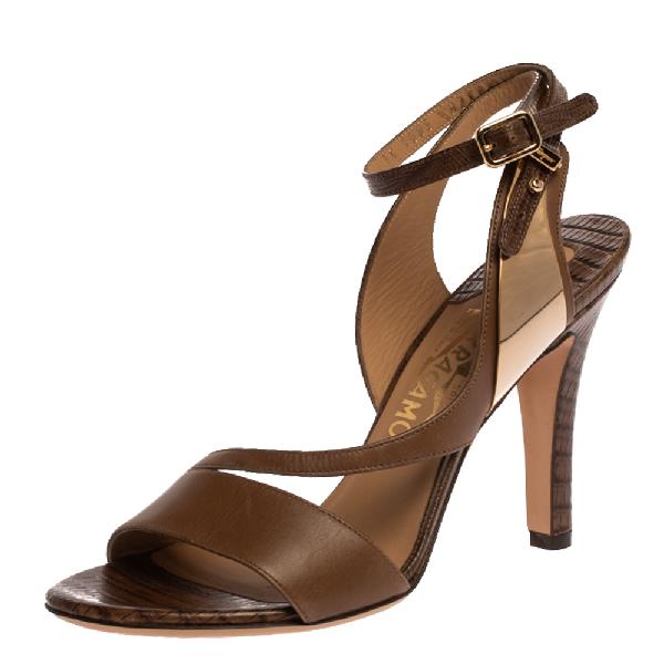 Salvatore Ferragamo Brown Lizard Embossed Leather Ankle Strap Sandals Size 36.5
