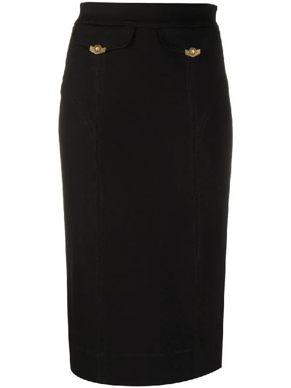 Versace Jeans Couture Front Flap Pocket Pencil Skirt In Black