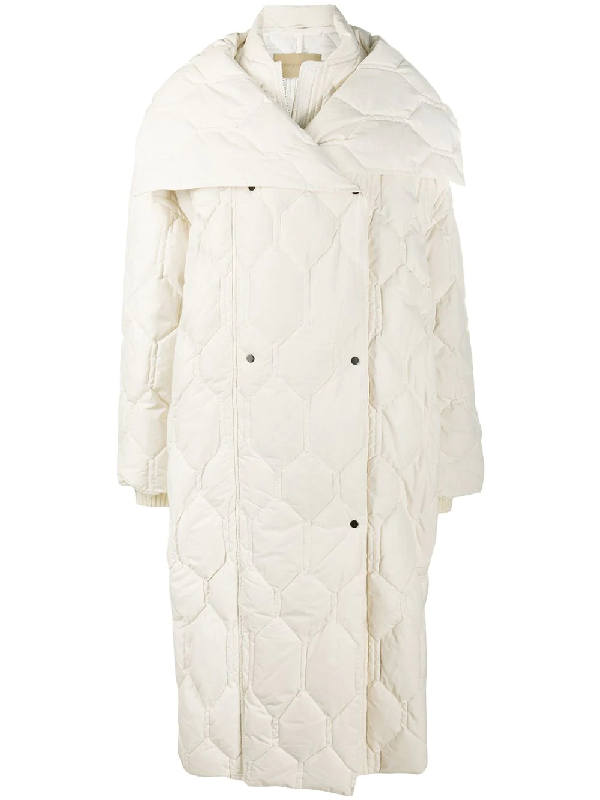 Christian Wijnants Oversize Honeycomb Quilted Coat In White