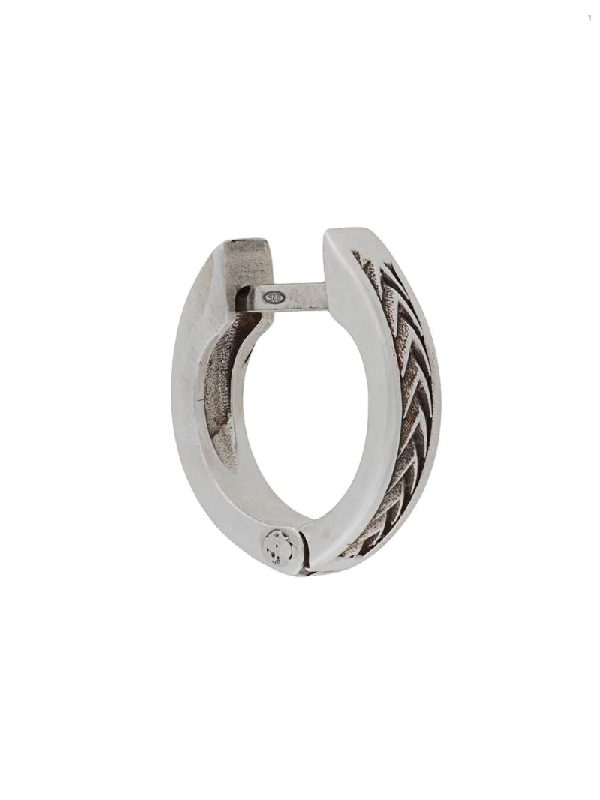 Emanuele Bicocchi Arrows Textured Hoop Earring In Silver