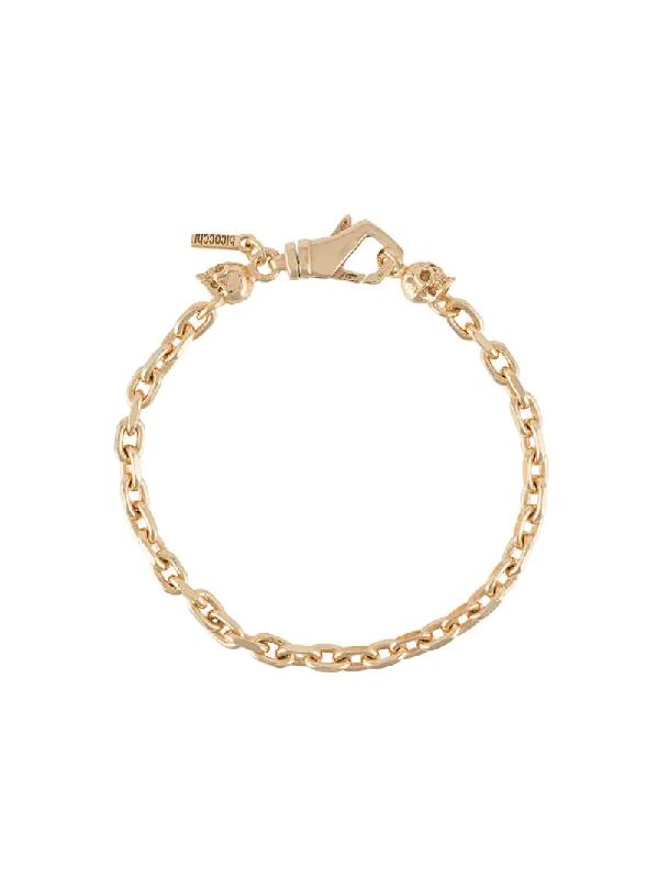 Emanuele Bicocchi Skull Chain-link Bracelet In Gold