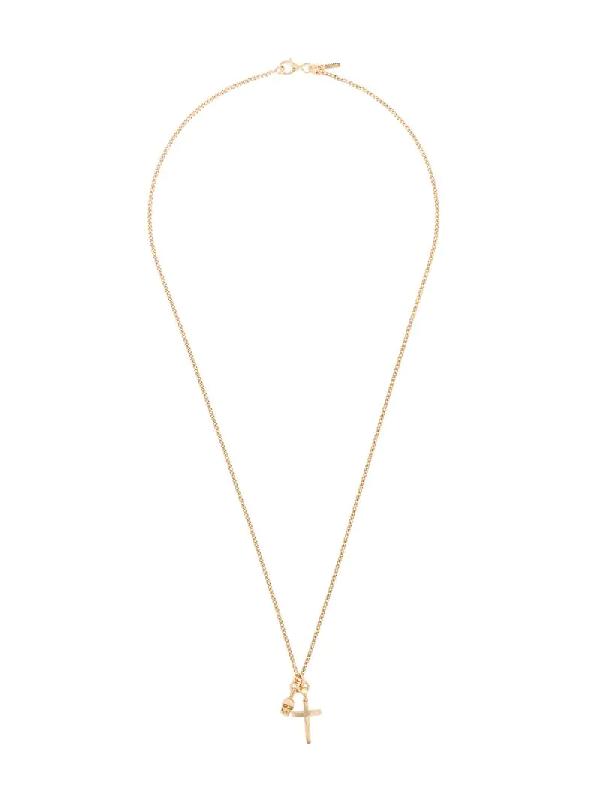 Emanuele Bicocchi Skull Pendant Chain Necklace In Gold
