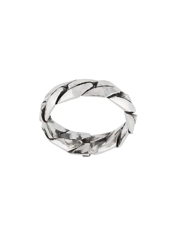 Emanuele Bicocchi Engraved-logo Band Ring In Metallic