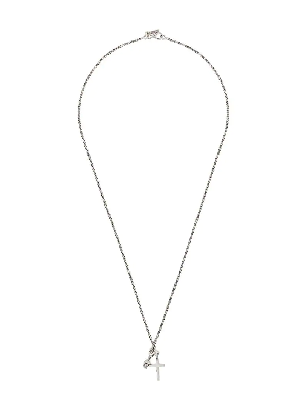 Emanuele Bicocchi Skull And Cross Necklace In Silver