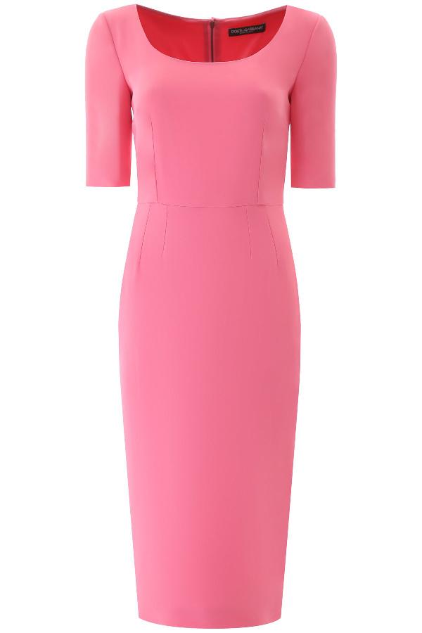 Dolce & Gabbana Crêpe Sheath Midi Dress In Rosa Confetto Scuro