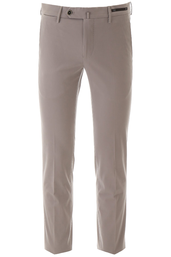 Pt01 Cotton Trousers In Lt Grey
