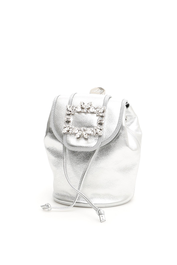 Roger Vivier Rv Broche Mini Backpack In Argento