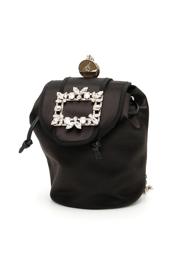 Roger Vivier Rv Broche Mini Backpack In Black