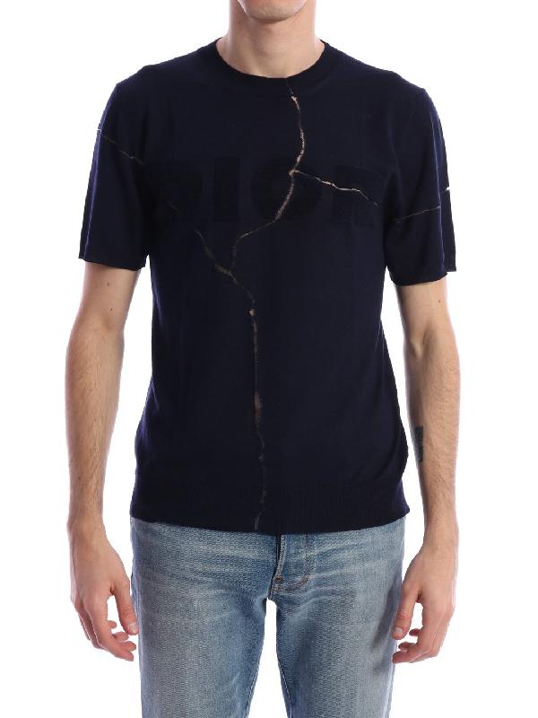 Dior Logo Crack Print T-shirt In Blue