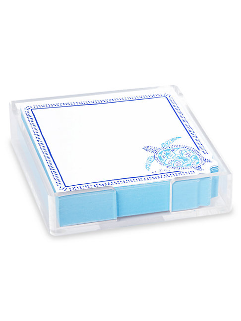 Lilly Pulitzer Turtley Awesome Note Sheets & Holder Set In Blue White