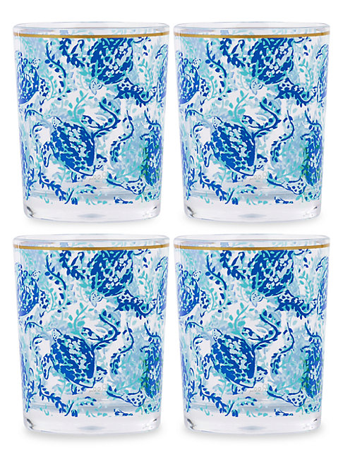 Lilly Pulitzer Turtley Awesome 4-piece Lo-ball Glass Set