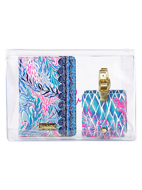 Lilly Pulitzer Kaleidoscope Coral 3-piece Passport Holder & Luggage Tag Travel Set