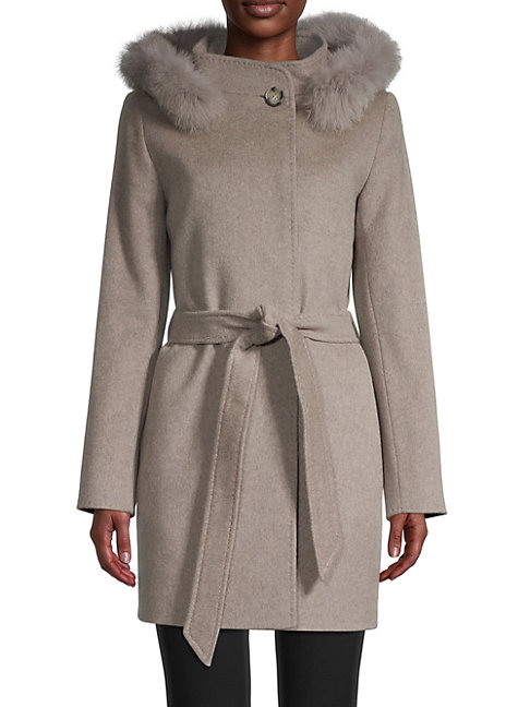 Cinzia Rocca Icons Fox Fur-trimmed Wool & Cashmere Car Coat In Oatmeal