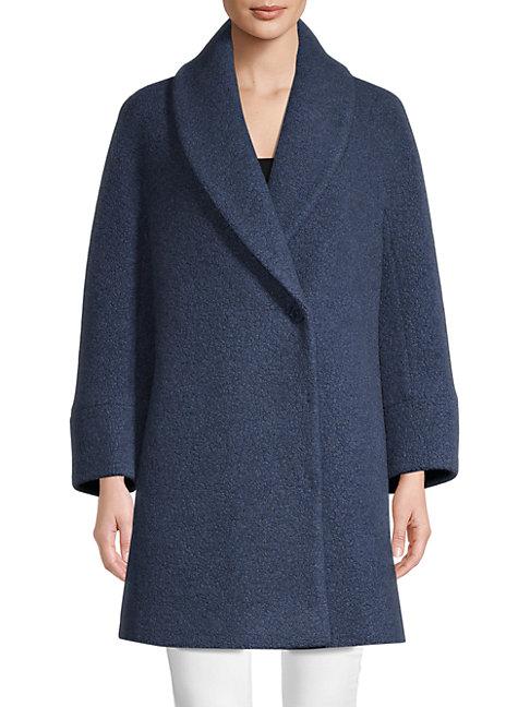 Cinzia Rocca Icons Faux Fur Wool-blend Jacket In Slate Blue