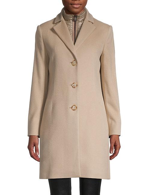 Cinzia Rocca Icons Zip-insert Wool-blend Coat In Sand