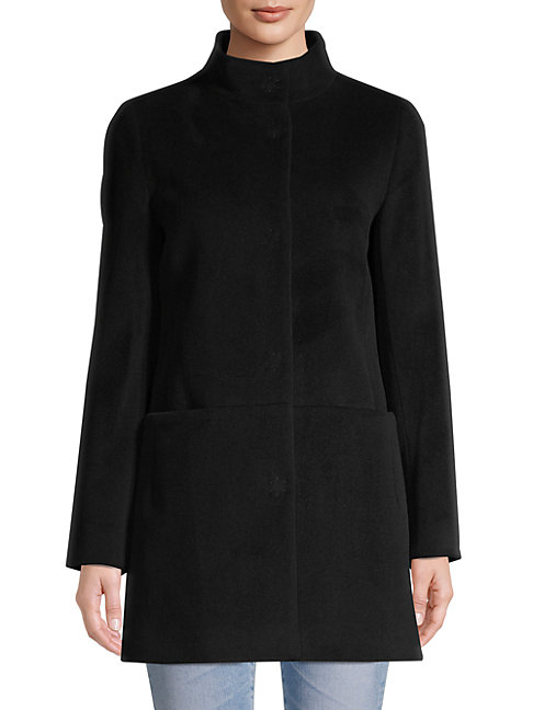 Cinzia Rocca Icons Stand Collar Coat In Black