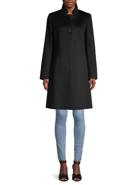 Cinzia Rocca Icons Button-front Wool-blend Coat In Black