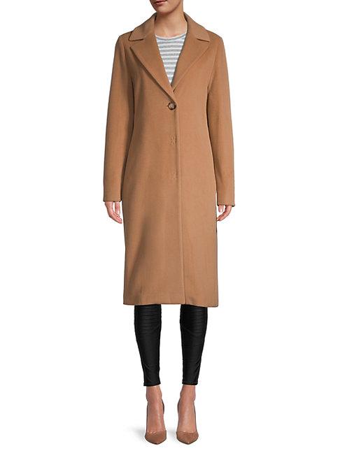 Cinzia Rocca Icons Notch Lapel Wool-blend Coat In Camel