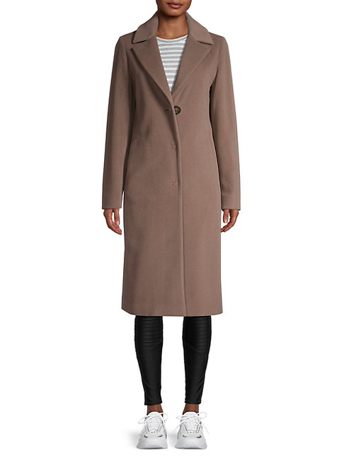 Cinzia Rocca Icons Notch-lapel Wool-blend Coat In Taupe