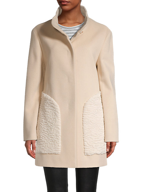 Cinzia Rocca Icons Faux Fur Wool-blend Coat In Sand
