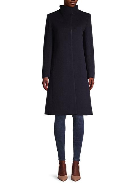 Cinzia Rocca Icons Funnelneck Wool-blend Coat In Navy