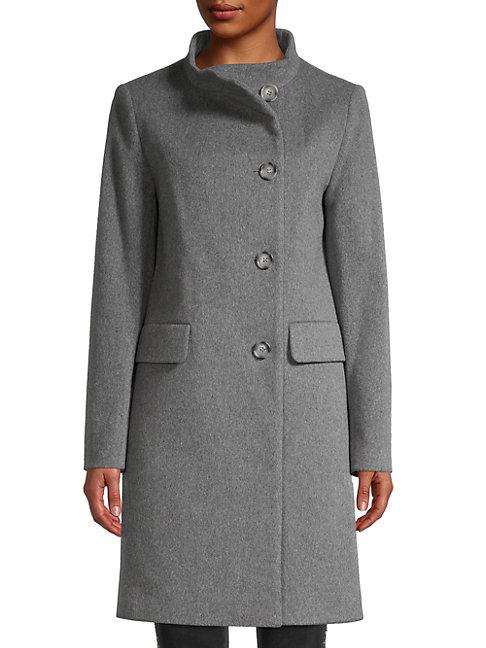 Cinzia Rocca Icons Turtleneck Wool-blend Coat In Grey