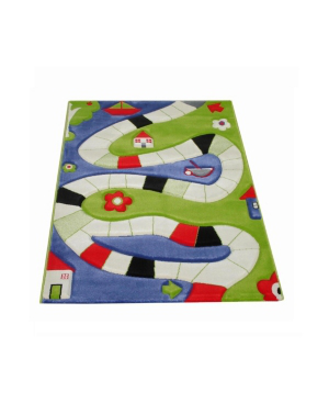 "Ivi Playway Soft Nursery Rug With A Playful Design - 59""l X 39""w In Blue"