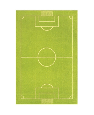 """Ivi Soccer Field Kids Area Rug, 59""""l X 39""""w In Green"""