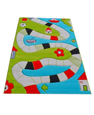 """Ivi Playway Soft Nursery Rug With A Playful Design - 59""""l X 39""""w In Turquoise"""