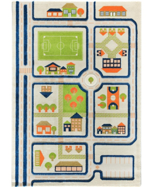 Ivi Traffic 3d Childrens Play Mat & Rug In A Colorful Town Design With Soccer Field, Car Park & Roads -  In Blue