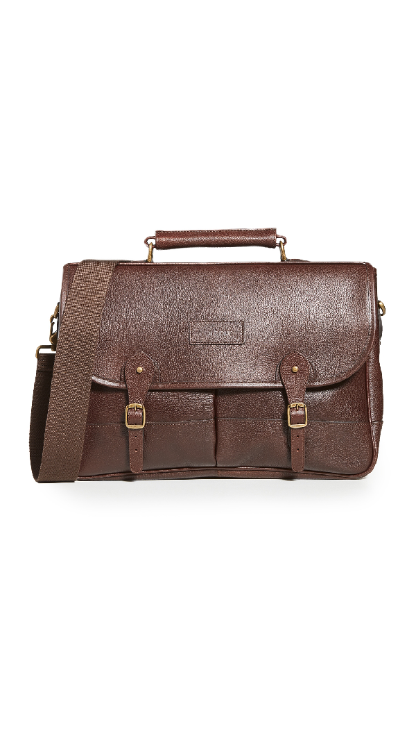 Barbour Leather Briefcase In Brown