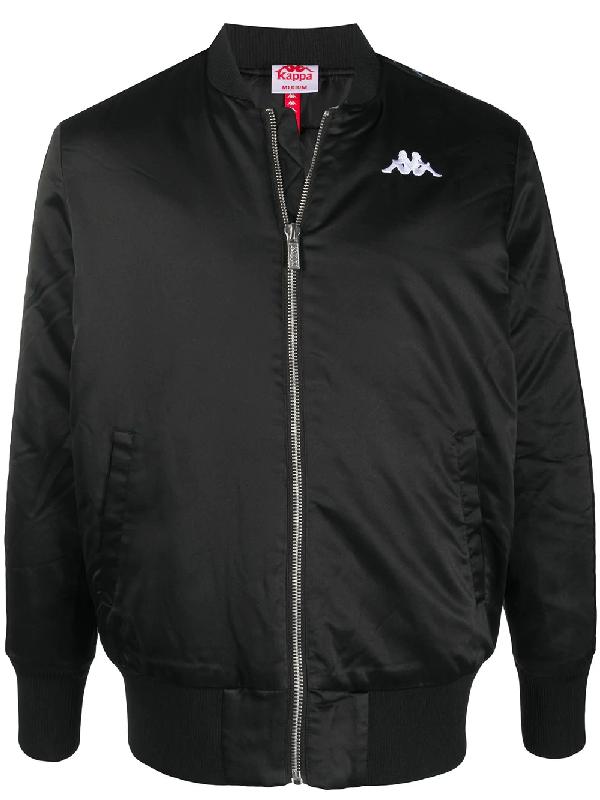 Kappa Logo Zipped Bomber Jacket In Black