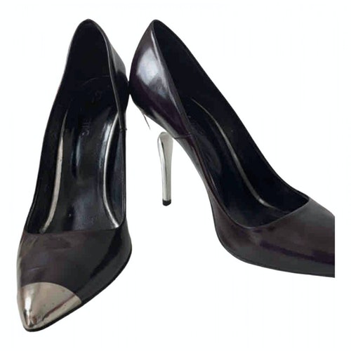 American Retro Purple Patent Leather Heels