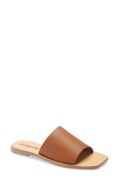 Sol Sana Mila Slide Sandal In Tan Leather
