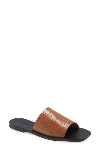 Sol Sana Mila Slide Sandal In Tan Croco Leather