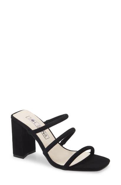 Sol Sana Judith Strappy Sandal In Black Suede