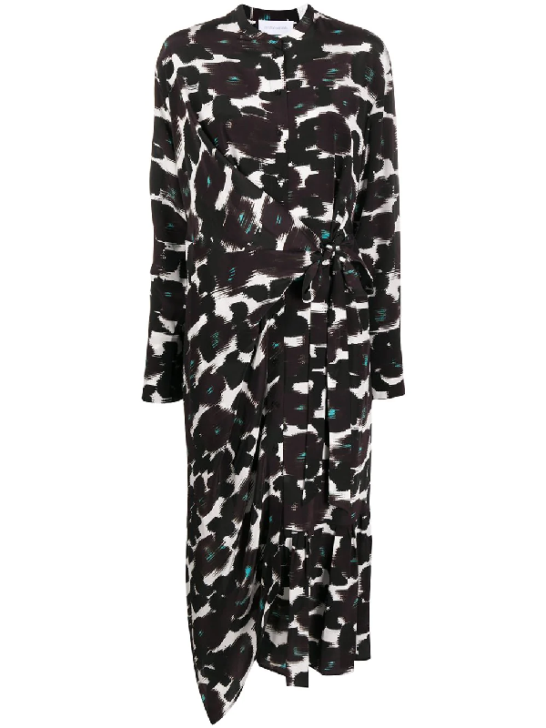 Christian Wijnants Abstract-print Tie-waist Crepe Midi Dress In Black