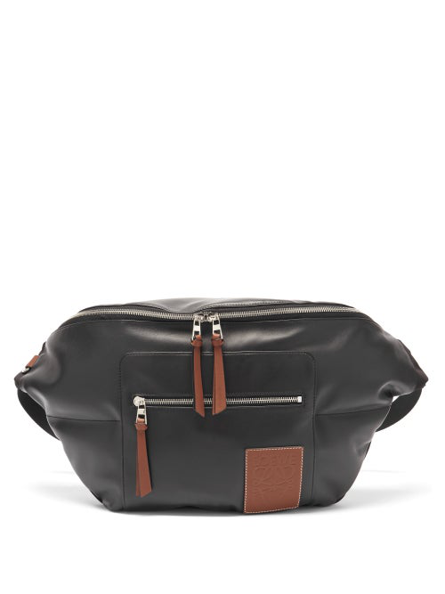 Loewe Puffy Bum Two-tone Leather Belt Bag In Black