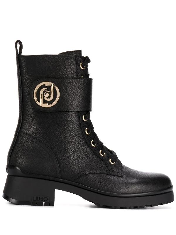 Liu •jo Lace-up Combat Boots In Black