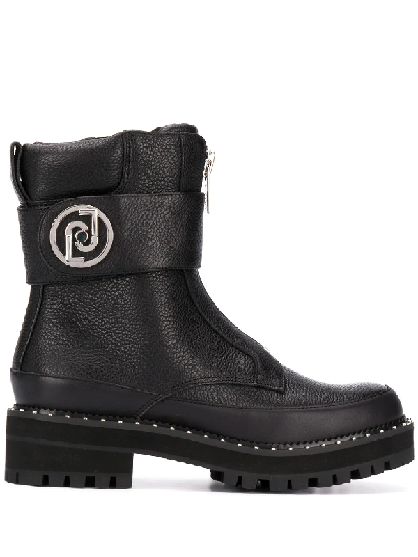 Liu •jo Zip-up Combat Boots In Black