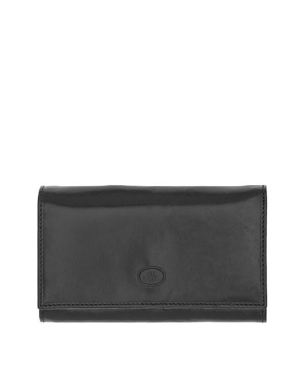 The Bridge Story Donna Black Genuine Leather Flap Wallet W/zip Pocket