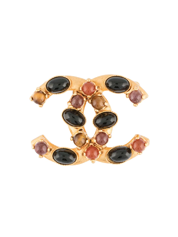 Chanel 2001 Stone-embellished Cc Brooch In Gold